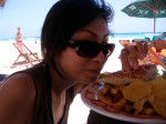 A perfect day: beautiful weather, gorgeous beach, delicious food.