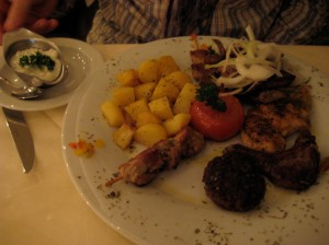 DR had the mixed grill platter (with potatoes)