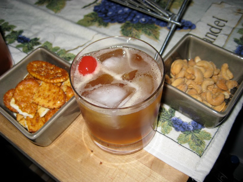 DR's famous Manhattan with snacks (how sophisticated)