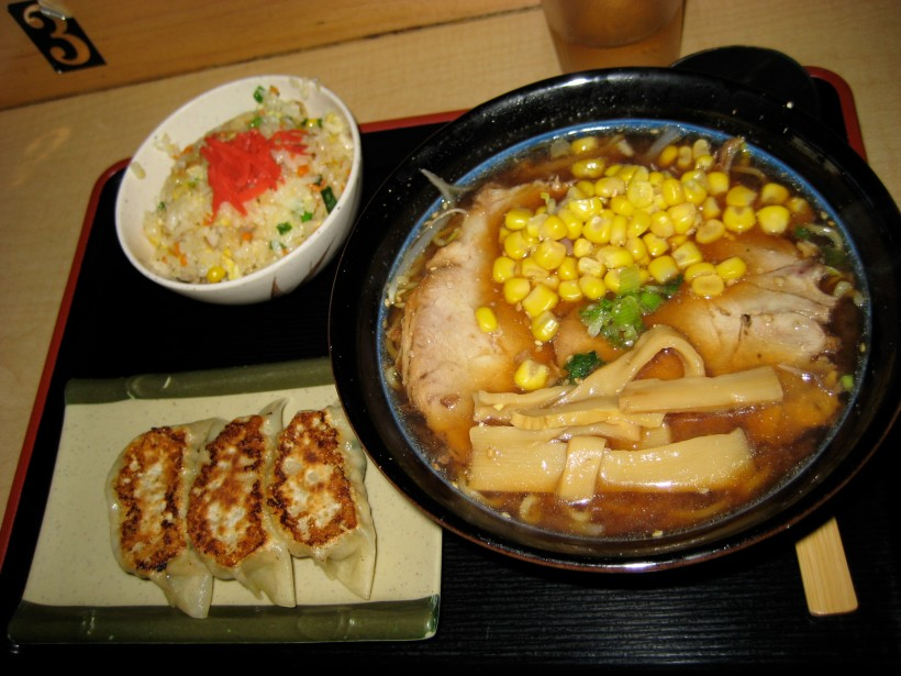 The lunch special with soy bean ramen, fried rice, and gyoza.