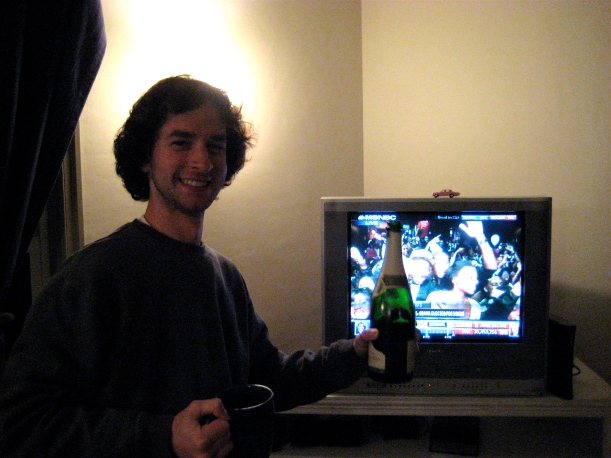 Celebrating an Obama victory with bubbly.