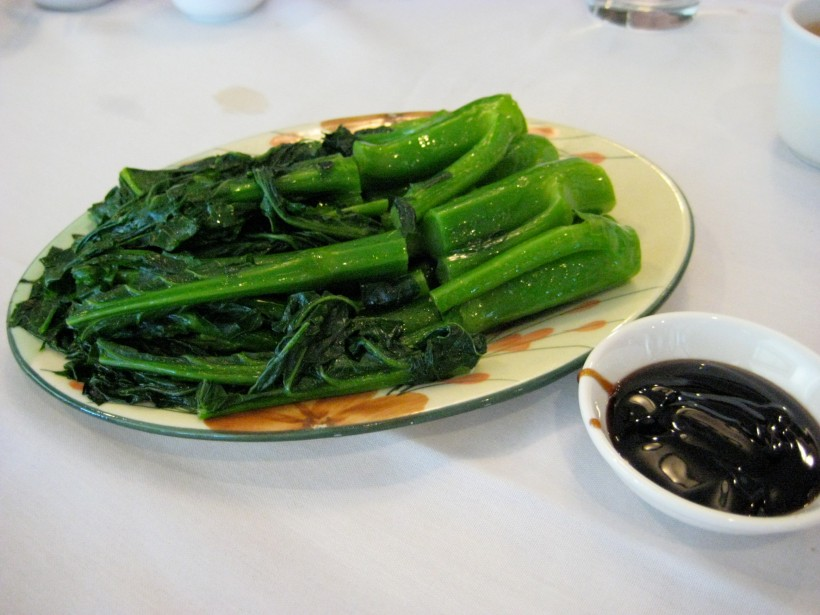 Gai lan (Chinese broccoli) with oyster sauce -- our one vegetable dish