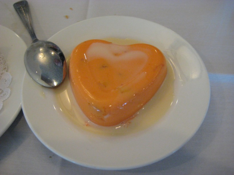 Mango pudding in a cute heart shape