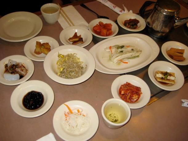 kimchi, radishes, tofu, fish cake, soy beans, bean sprouts...