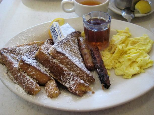 Challah French toast and real maple syrup, with sausage and eggs