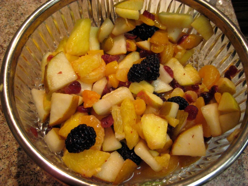 Fruit salad, an nice complement to the ham.