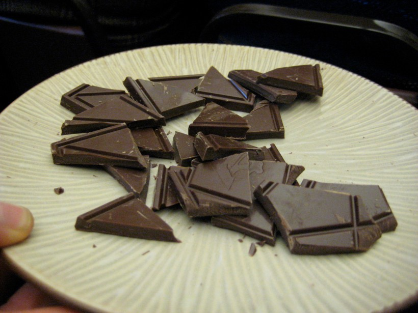 One of three chocolates we got to taste during the tour (I think this was the 50% semisweet).