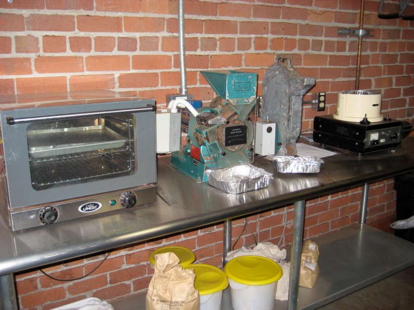 The temperature station, used by the master roasters to test when the beans are done.