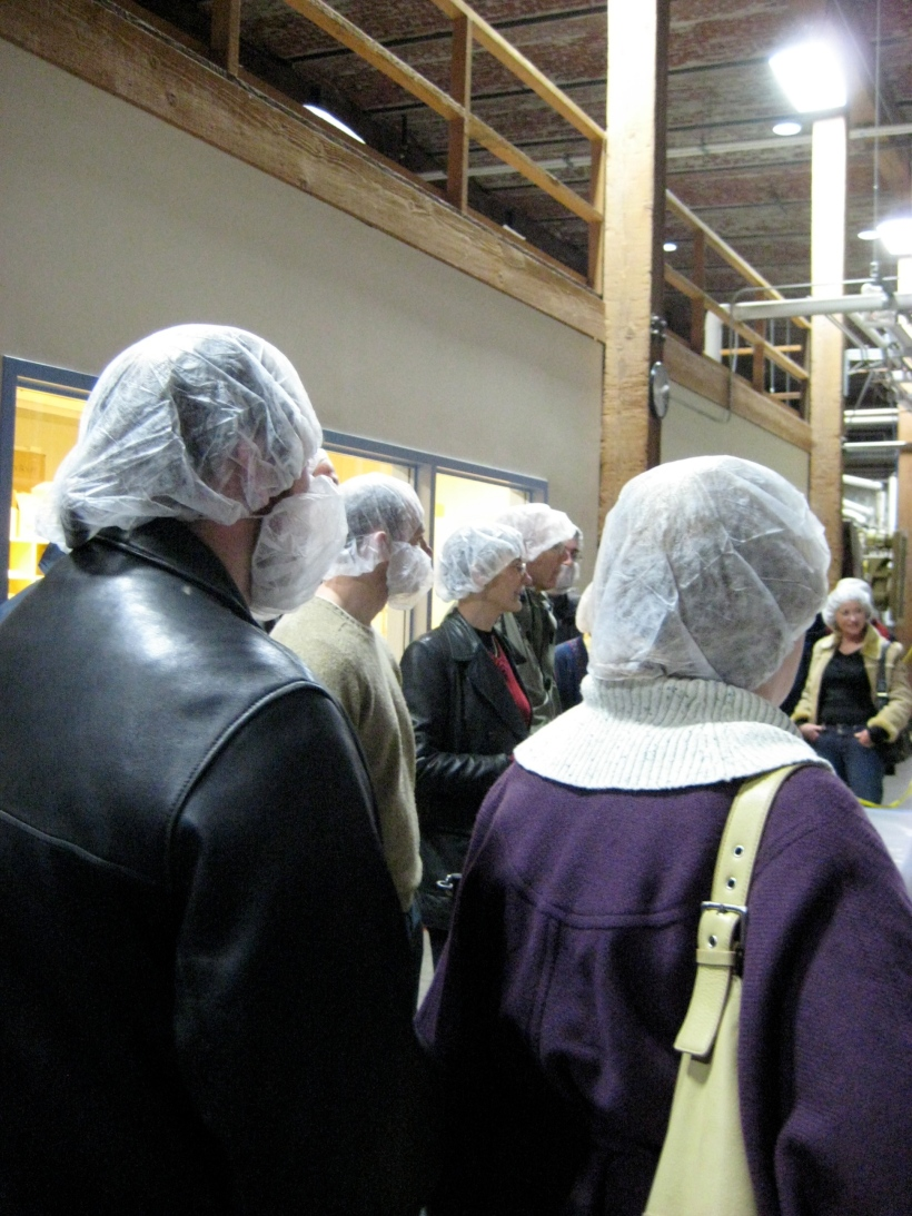 Because this is a food processing facility, we all had to wear hairnets and the men had to wear beard nets.