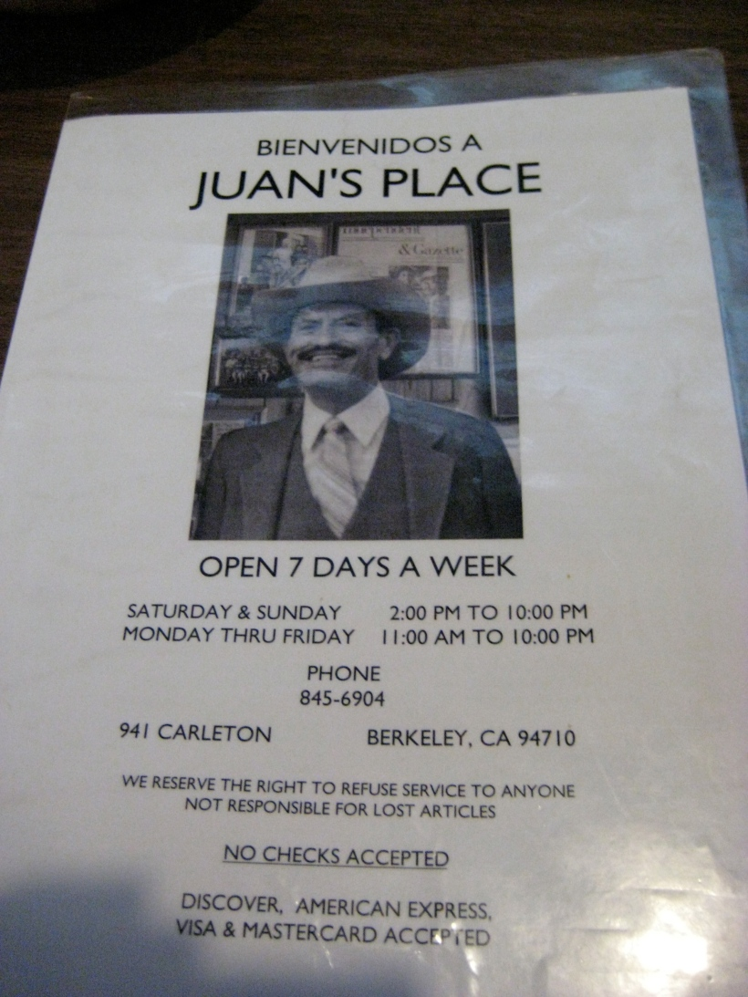 The menu at Juan's