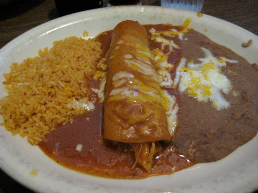 My chicken enchilada with rice and beans.  I learned quickly that the 1/2 order was plenty for me (the full order comes with 2 enchiladas).