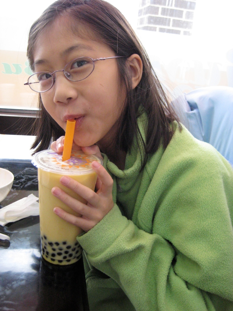 Another happy bubble tea customer