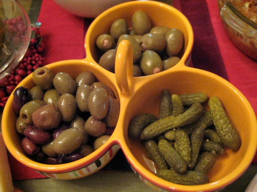 Olives and cornichon