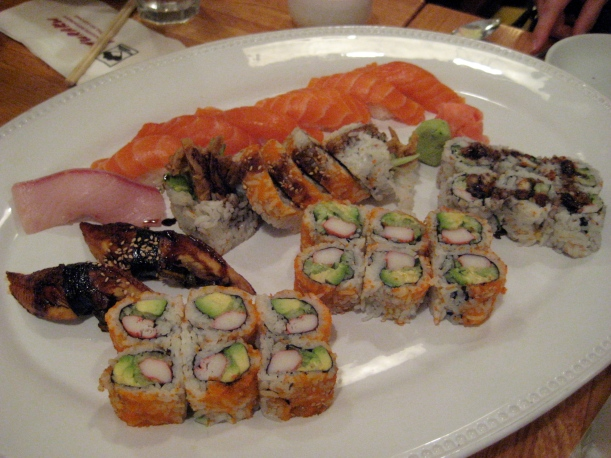 California rolls, Eel and avocado roll, Spider roll, Eel nigiri, Salmon nigiri, and Yellowtail nigiri