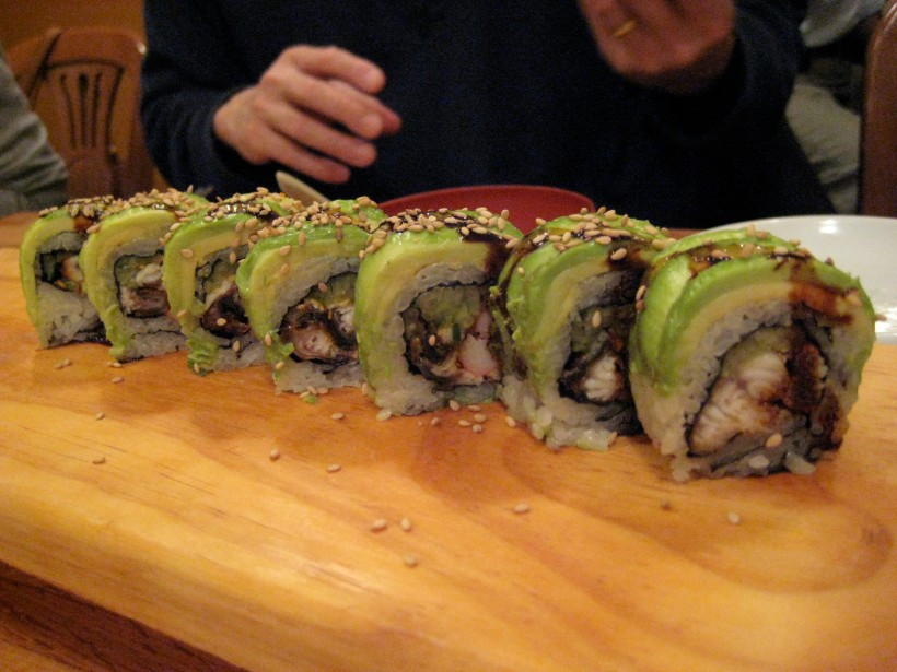 Dragon roll (just looking at the avocado makes my mouth water...)