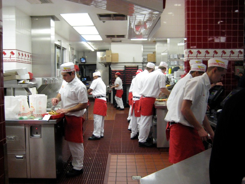 A tidy ship of In-N-Out workers, right as a busload of people entered the restaurant.