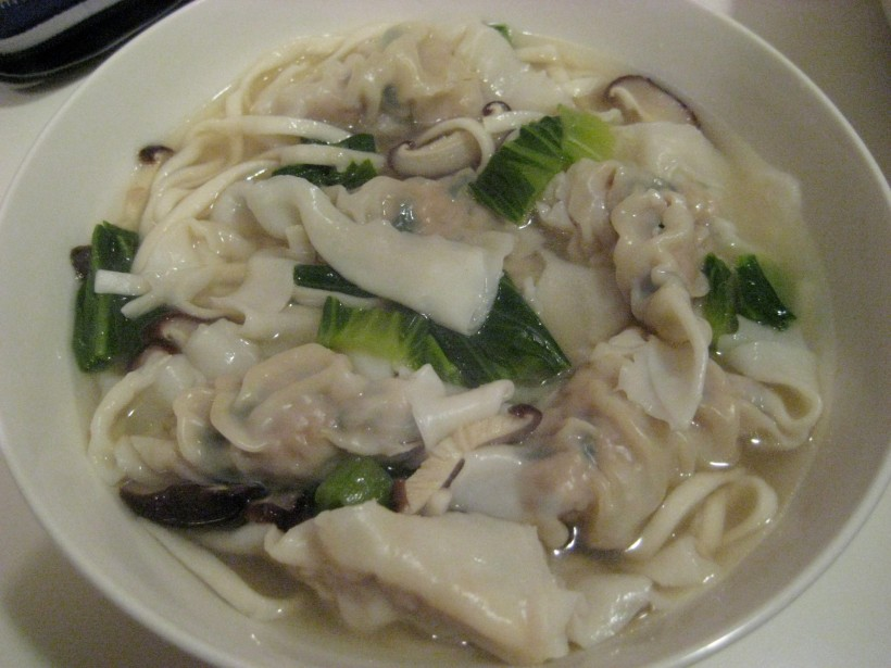 Homemade wonton noodle soup!