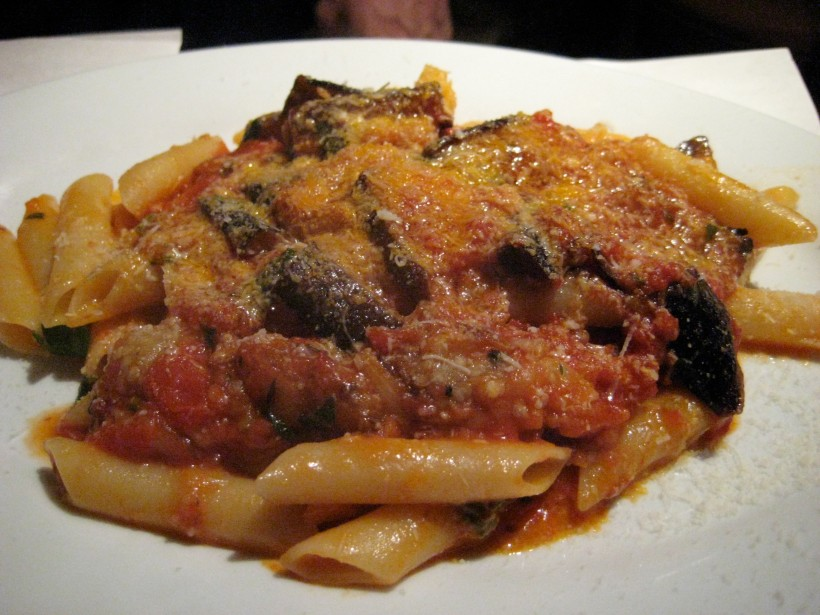 Penne with eggplant.