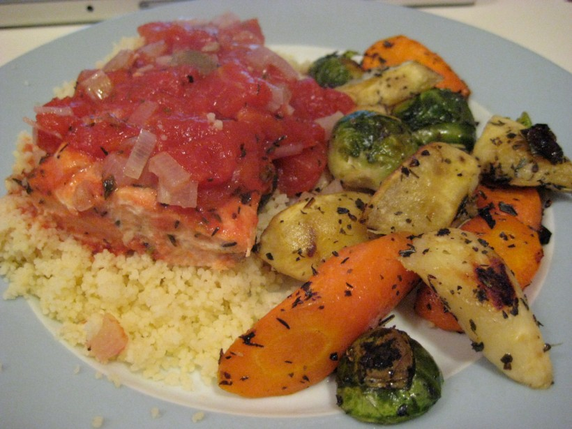 Roast salmon and root vegetables with couscous
