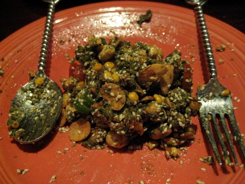 The Green Tea Salad, post-mixing.