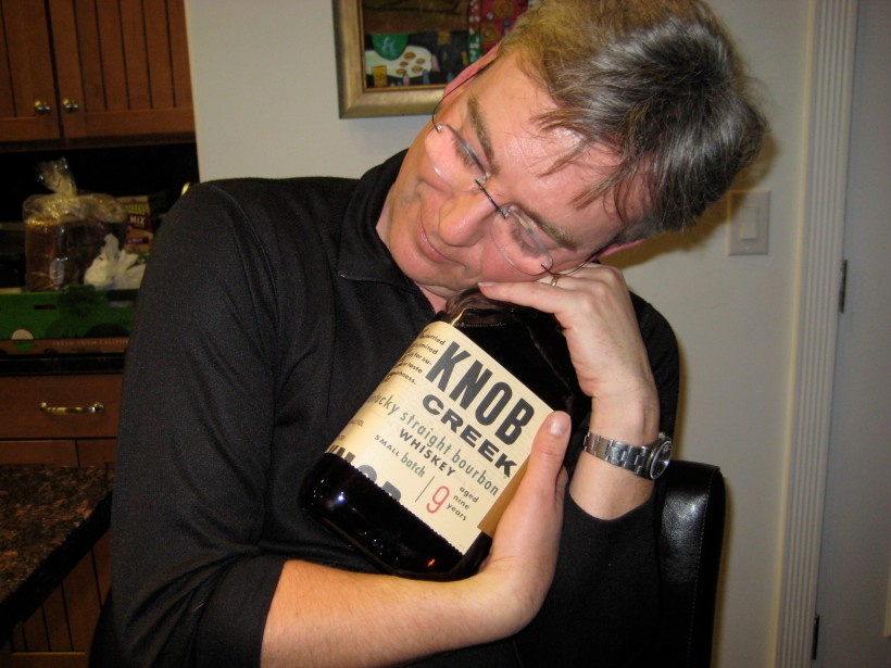 Cuddling up with a giant bottle of bourbon...