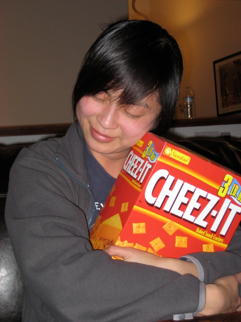 ... while I cuddle up with a Costco size box of Cheez-Its.  Bigger than my head, of course.