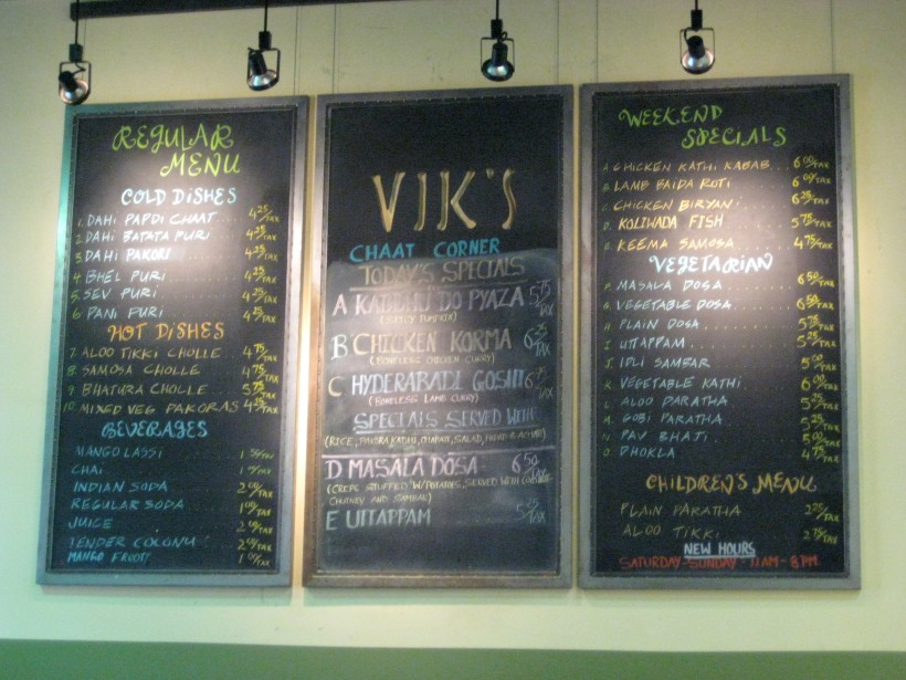 The menu at Vik's