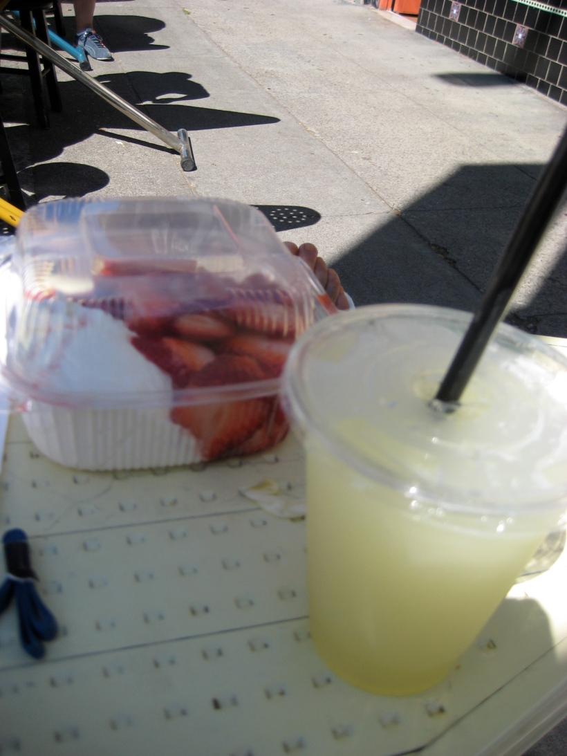 Strawberry shortcake and lemon ice: a great combo.
