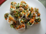 Plating the spring rolls was fun and easy.