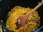 Roasted corn with onions and garlic, pre-soup.