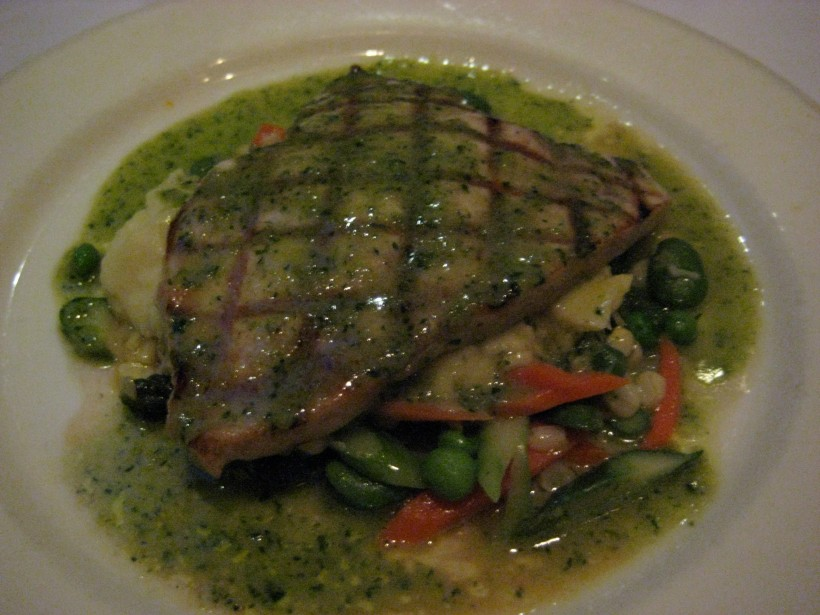Grilled halibut on a bed of yummy.