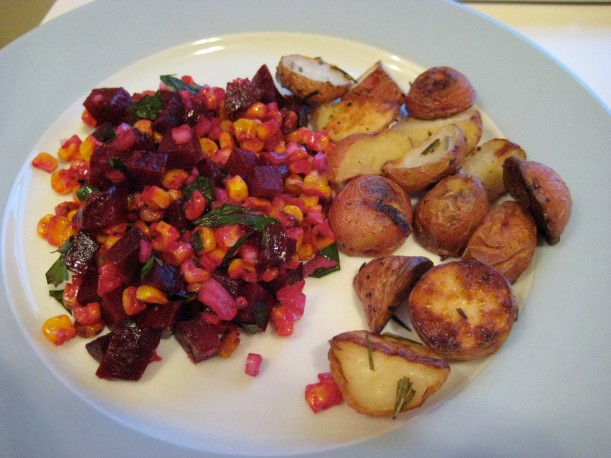 Getting a little roast-happy: roasted beets, corn, AND potatoes!