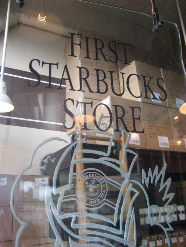 One of the top Seattle tourist stops: the very first Starbucks.