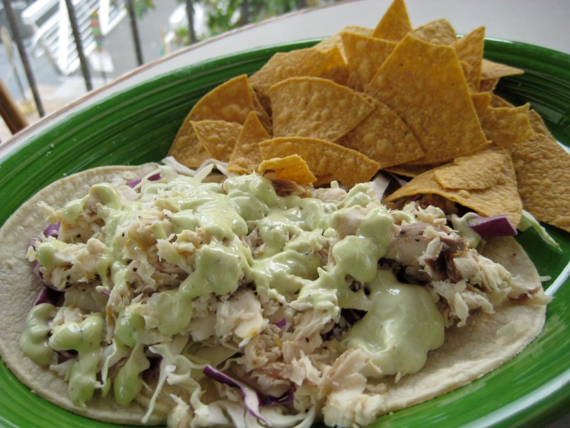 Grilled mahi mahi soft tacos.