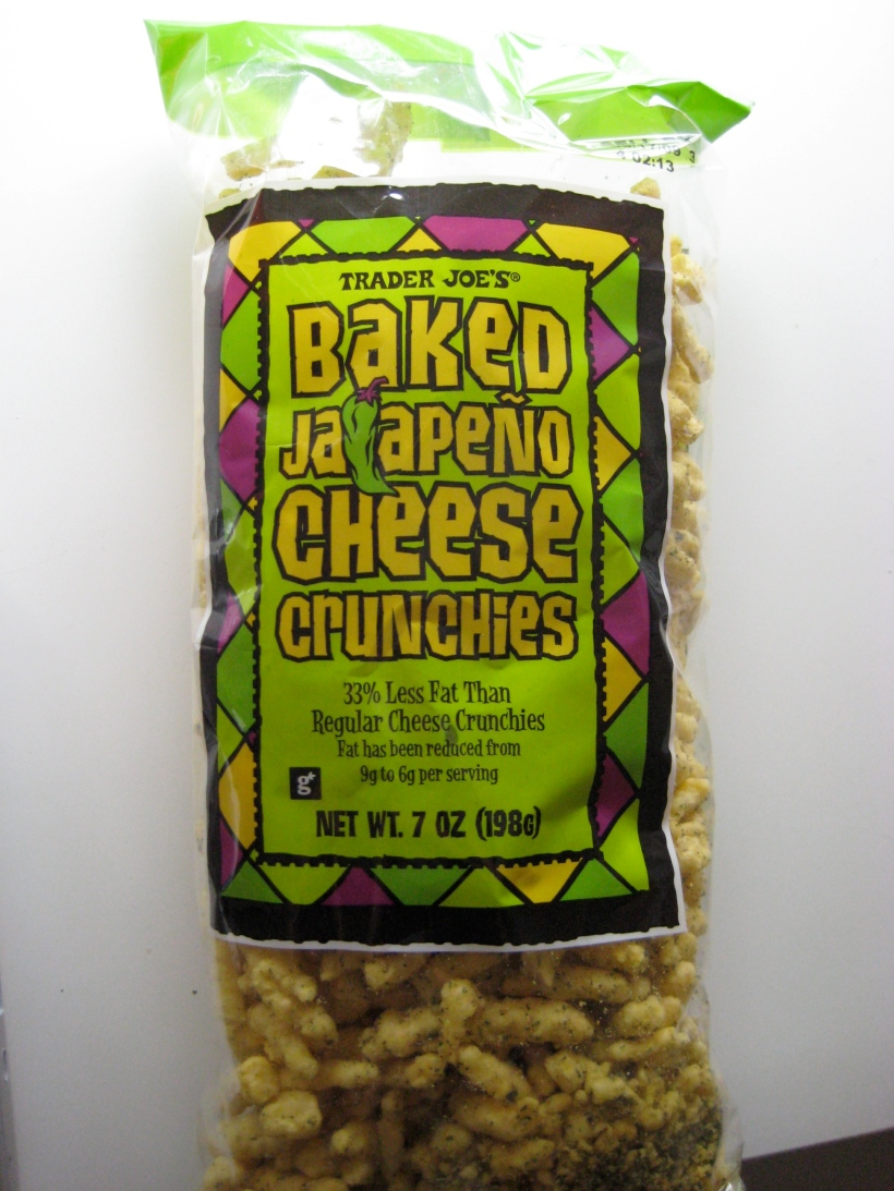Trader Joe's Baked Jalapeno Cheese Crunchies. I could eat a whole bag in one sitting.