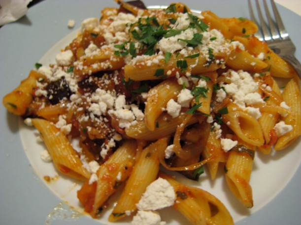 Penne with roasted eggplant, tomatoes, and ricotta salata.