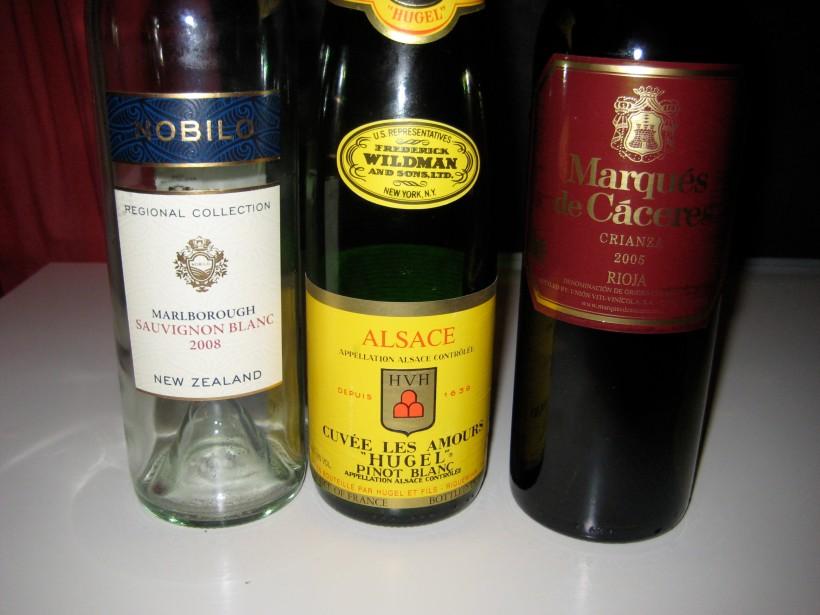 Three empty bottles of wine. Manhattans not pictured.
