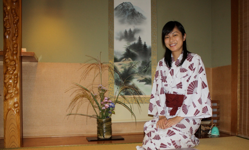 In my yukata next to the traditional alcove in the ryokan room