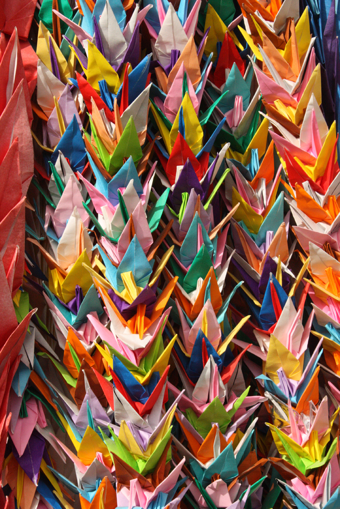 Ropes of origami cranes at Inari shrine, for good luck