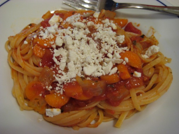Linguini with carrots and salata ricotta.