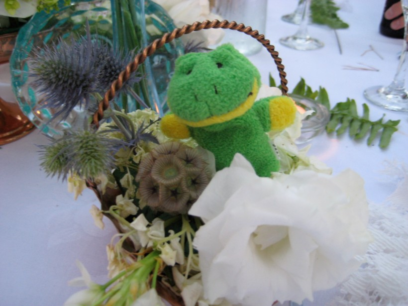 We all got finger puppets and a Lindt truffle for the wedding favors. This little froggy belongs to me.