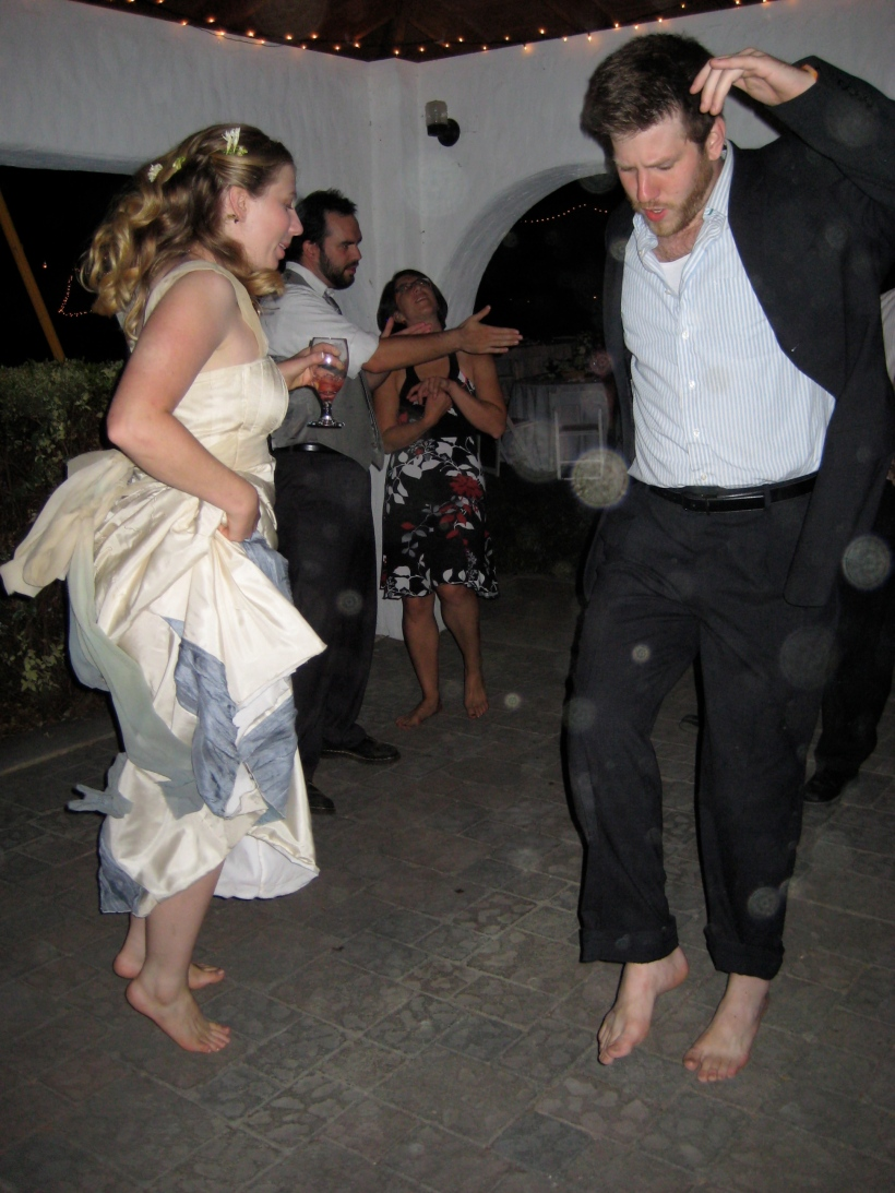 The bride and her brother kicked off their shoes and let loose!