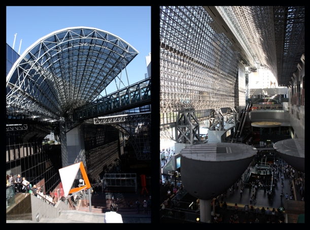 Kyoto Station: a stark contrast to the temples, shrines, and gardens of Kyoto.