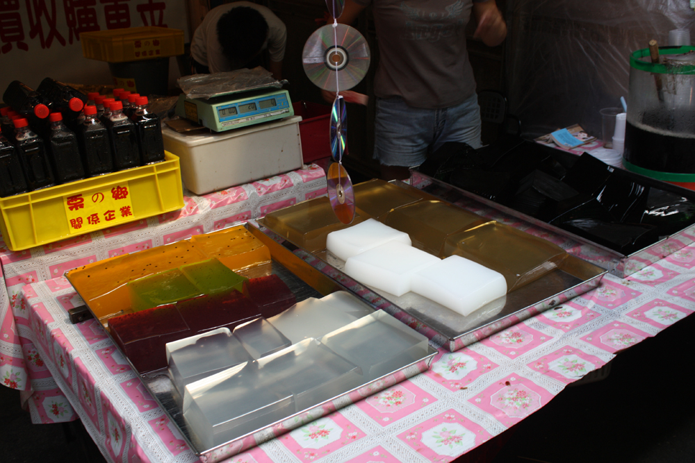 Jellies of different flavors: almond tofu, grass jelly, aloe