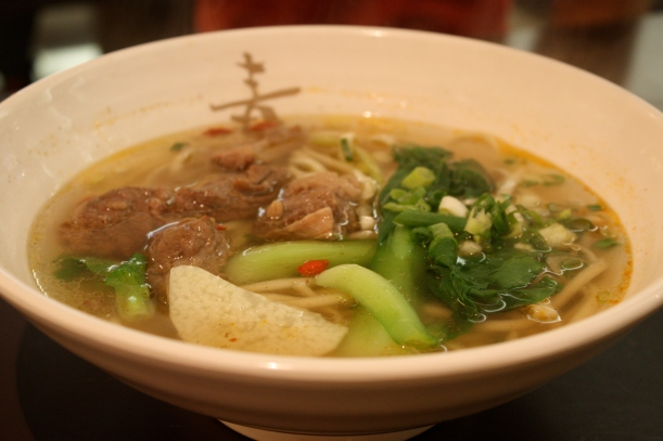 Beef noodles with clear broth. Light and savory.