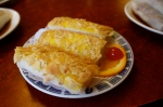 Almond encrusted pastry filled with shrimp and mayo