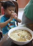This bowl of noodles is bigger than my nephew's head.