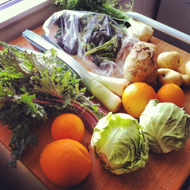 Our first CSA box from Full Belly Farms!