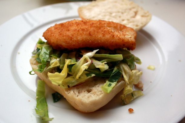 We added the spicy slaw to cod filets and buns from Trader Joe's. We loved these sandwiches so much we made then twice in 2 weeks!