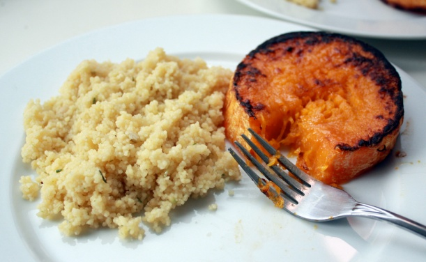 Roasted squash (also from the PPK) with a side of cous cous.